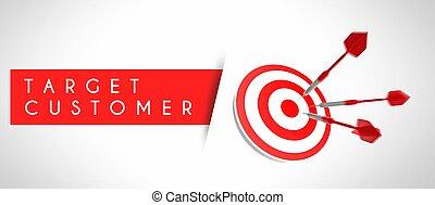concept affaires, cible, reussite, client