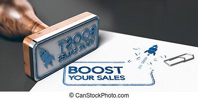concept affaires, commercialisation, ventes, ou, poussée, ton