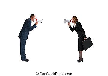 concept affaires, conflit, porte voix, isolé