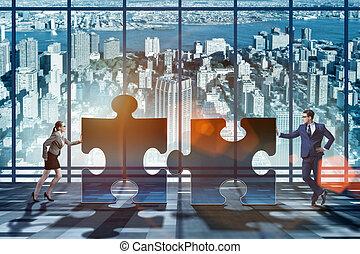 concept affaires, de, puzzles, pour, collaboration