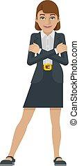 concept, affaires femme, mascotte