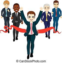 concept affaires, groupe, reussite, course