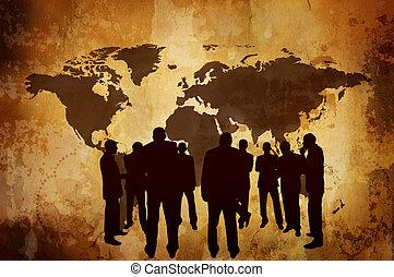 concept affaires, ou, ombre, économie