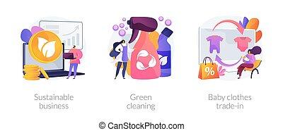 concept affaires, résumé, illustrations., écologique, vecteur