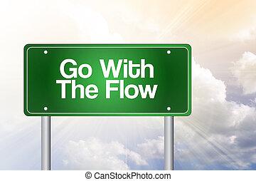 concept, affaires signent, couler, vert, aller, route