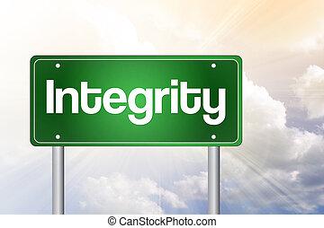 concept, affaires signent, vert, intégrité, route