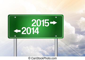 concept, affaires signent, vert, route, 2015, 2014