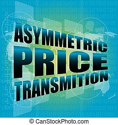 concept affaires, transmition, coût, asymétrique, numérique, toucher, interface, écran