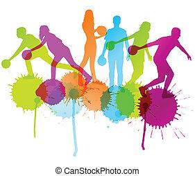 concept, affiche, bowling, joueur, silhouettes, vecteur, ...