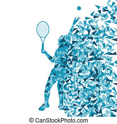 concept, affiche, joueurs tennis, silhouettes, vecteur, fond...