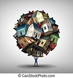 concept, agent immobilier, vrai