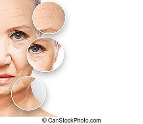 concept, aging., procédures, beauté, levage, facial, peau, ...