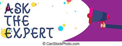concept, aide, bubble., texte, haut-parleur, soutien, écriture, regarder, parole, tenue, porte voix, coloré, expert., conseil, signification, demander, crier, homme, demande, professionnel, écriture, parler
