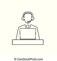 concept, aide, illustration, bureau, vecteur, appeler, icon-, centre