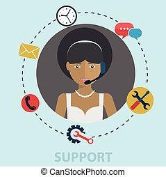 concept, aide, mettez stylique, déclic, service toile, icônes, soutien, contact, appeler, infographics, site web, plat, éléments, téléphone affaires, bureau, soin, client, illustration., nous, vecteur