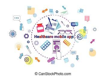 concept, aide, mobile, app, ligne médical, traitement, healthcare, médecine, bannière, thérapie