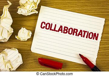 concept, aide, texte, global, il, papier, marqueur, écriture, industries, suivant, écrit, collaboration, collaboration., gagner, association, business, bloc-notes, fond, autres, balles, mot, larme, bois