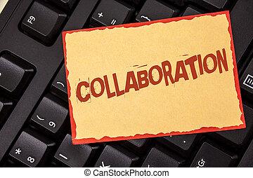 concept, aide, texte, global, papier collant, vue., industries, sommet, écriture, note, écrit, collaboration, collaboration., gagner, noir, keyboard., association, business, autres, mot, placé