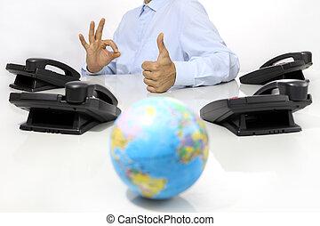 concept, aimer, bureau, téléphones, globe global, main, bureau, international, soutien