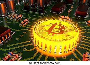 concept, aimer, carte mère, bitcoin, chaud, informatique, processeur