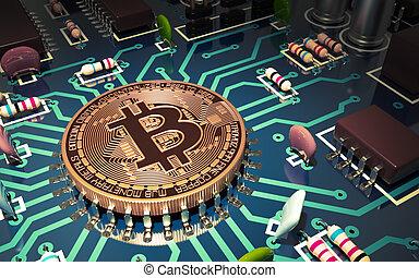 concept, aimer, carte mère, puce, bitcoin, informatique