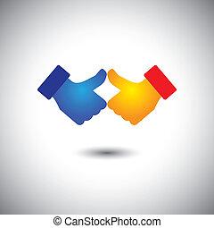 concept, aimer, gens, -, haut, deux, vecteur, pouces, ou, célébration