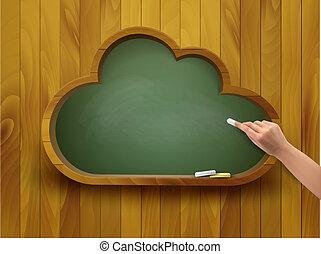 concept., alakít, chalkboard, vector., cloud., e-learning