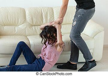 concept, alcoolique, saisir, -, plancher, abus domestique, violence, sien, épouse, agressif, mensonge, homme