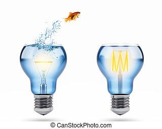 concept, amélioration, saut, rendre, goldfish., progrès, 3d