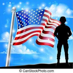 concept, américain, soldat, drapeau, fond, patriotique