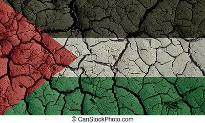 concept, ambiant, politique, crise, boue, drapeau, fissures, palestine, ou