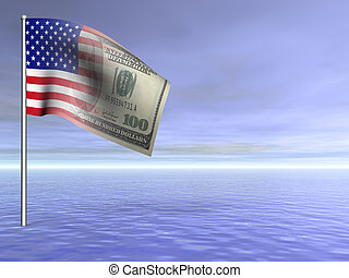 concept American flag us dollar over blue ocean water 3D rendered