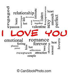 concept, amour, casquettes, nuage, mot, vous, rouges