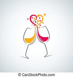 concept, amour, fond, blanc rouge, vin