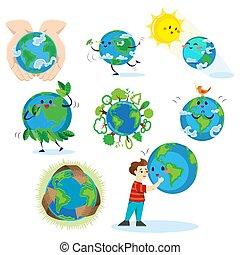 concept, amour, globe global, étreindre, écologie, la terre, bleu, isolé, jour, blanc, sauver, mondiale, heureux, nature, eco, planète, illustration, fond, garçon, protection, vecteur, vert