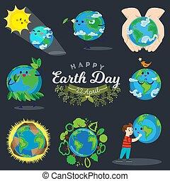 concept, amour, globe global, étreindre, ensemble, écologie, la terre, bleu, isolé, jour, blanc, sauver, mondiale, heureux, nature, eco, planète, illustration, fond, garçon, protection, vecteur, vert