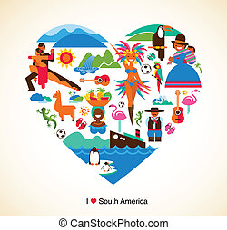 concept, amour, icônes, -, illustration, vecteur, amérique, sud