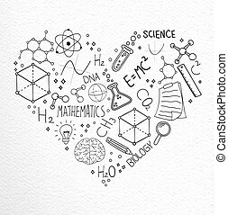 concept, amour, icônes, science, main, griffonnage, dessiné