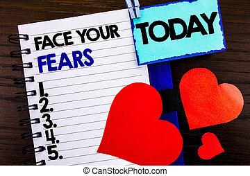 concept, amour, texte, courageux, peur, ton, annonce, confiance, heart., écrit, livre, aujourd'hui, projection, papier, signification, cahier, fond, bravoure, bois, défi, figure, fourage, fears.
