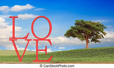 concept, amour, valentin, rendre, thème, 3d