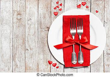 concept, amour, valentine, bois, vendange, sommet, espace, ou, roses, arrière-plan., cœurs, coutellerie, copie, jour, rouges, vue