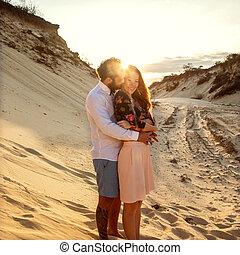 concept, amour, valentine, couple, dunes, sable, jour, heureux