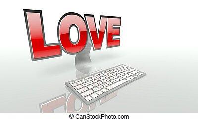 concept, amour, virtuel, internet