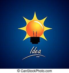 concept, ampoule, incandescent, vecteur