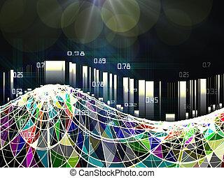 concept., analiza, abstrakcyjny, miejscowość, cielna, skutek, ciemny, infographic, kolor, dane, ruszt, tło.