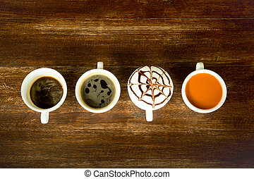 Concept and idea cup of coffee and tea line up