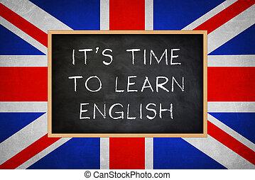 concept, anglaise, -, il, apprendre, tableau, temps