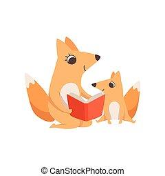 concept, animal, elle, famille, renard, illustration, parenting, vecteur, fond, mère, blanc, lecture, gosse, livre, aimer