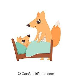 concept, animal, elle, famille, renard, illustration, parenting, vecteur, mettre, fond, mère, bébé, sommeil, blanc, aimer