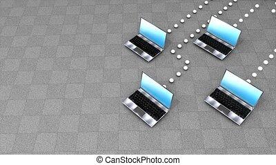 Concept animation, Cloud computing.